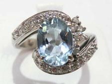 アクアマリンダイヤリングの宝石買取は質屋かんてい局上尾駅前店(金やプラチナで質預かりいたします)