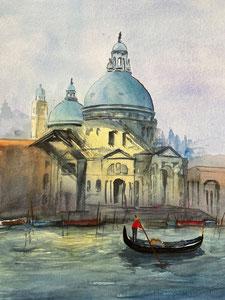 Basilica di Santa Maria della Salute Venedig am Canale Grande in Venedig mit einem Gondoliere im Vordergrund, Gemalt mit Aquarell