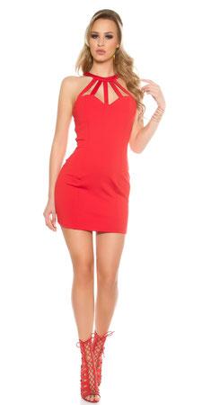 Neck-Minikleid Rot