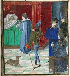 Charles VI alité.Par Jean Froissart, Chronicles.Gallica.identifiant btv1b8438607b.Ce bandeau n'indique rien sur le statut de l'œuvre au regard du droit d'auteur. Un bandeau de droit d'auteur est r