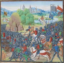 Bataille de Roosebeke.Par Loyset Liédet.www.waterwijk.be/content/images/A4A98230-23D0-4940-96C6-27B0F41B5098.jpg.wikimedia.org