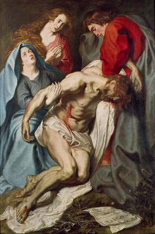 """Anthony Van Dyck - """"La déploration du Christ"""" - 1619 - Toile exposée à Oxford, Ashmolean Museum"""