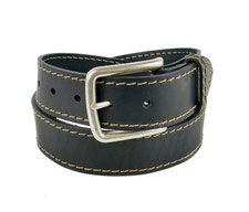 Black leather belt from Village Leathers
