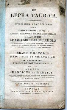Titel der zweiten Dissertation 1816 in Leipzig (De Lepra Taurica / Über die Krimmsche Krankheit)