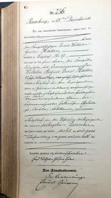 Haden, Wilhelm August Ernst, Freigutsbesitzer Lotzdorf. Sterbeeintrag Standesamt Lotzdorf 1882