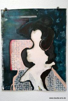 ohne Titel - Acryl, Pastellkreide, Filzpappe mit Schattenfugerahmen, 100x80, 2015