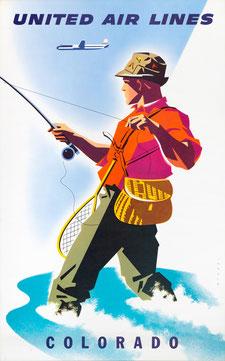 Vintage Poster United Air Lines Colorado Joseph Binder