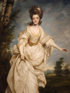 Diana, Viscountess Crosbie, 1777, wearing a wrapping gown. Painted by Joshua Reynolds (flickr, picture by Amy Fry)