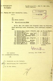 Zwangsumzug von Moses Kanter nach Fronhausen, wo man Juden aus dem Landkreis Marburg konzentrierte.