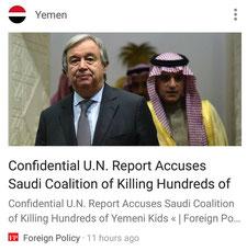 16.08.2017 – Foreign Policy (USA) Vertraulicher UN-Bericht beschuldigt saudische Koalition, dass sie Hunderte jemenitische Kinder getötet hat