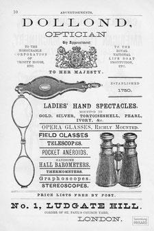 IMA.19.071 Werbeanzeige der Londoner Optikmanufaktur Dollond (1882) / © Sammlung PRISARD