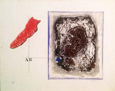 profil et rouge, james coignard,gravure, carborundum