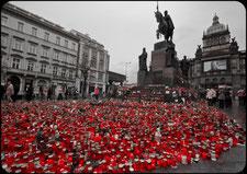 Памятник князю Вацлаву в дождь