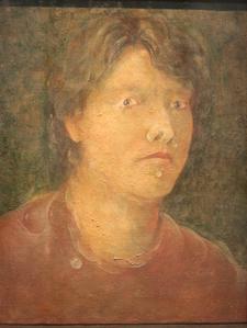 &ギャラリー展示・赤木範陸  1992年  混合技法  42.0×32.0㎝「若き錬金術師の肖像」