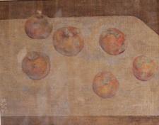 &ギャラリー展示・赤木範陸  1999年  混合技法  30.0×40.0㎝「6つの林檎の静物」