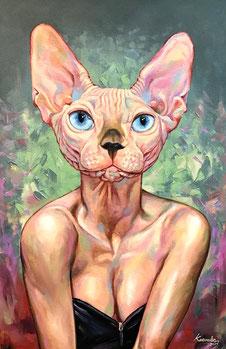 Sphynx Cat Ölgemälde von Aum Kaewalin
