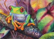 ein Frosch, imGeäst, gegenständliche Malerei,Aquarellbild