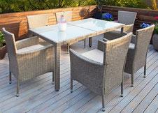 tavolo #sedie #polyrattan #grigio #beige #impilabili