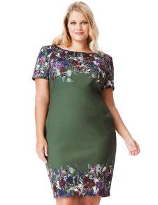 schickes Tageskleid für Mollige, Business Outfit für kräftige Frauen , Blumenkleid Gr 48