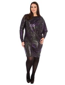 Damenkleid metallisch lila glänzend XL
