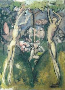 Marcel DUCHAMP en su Primavera de 1911 encontró la estilización de sus figuras en su sentido escensional y tonos amarillos cierta similitud con el Greco. Para él, El Greco era la raiz de Picasso.