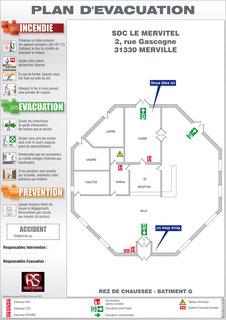 Plan d'evacuation à Merville (31)