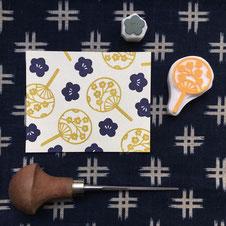 Tampon éventail japonais et fleur