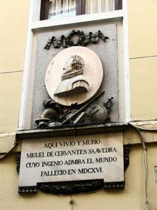 Placa de la casa de Miguel de Cervantes
