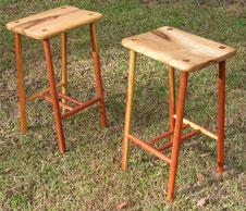Camphor laurel & lancewood stools. SOLD