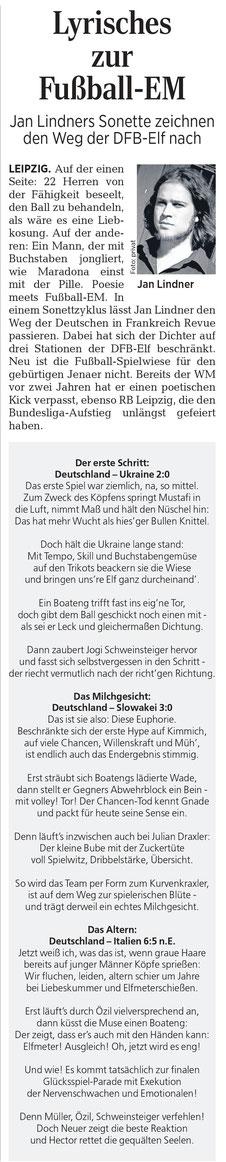 Jan Lindners EM-Sonett zur Fußball Europameisterschaft 2016 in der Leipziger Volkszeitung