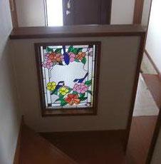 バラの花・デザインのステンドグラス