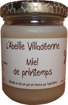 Miel de printemps en pot en verre de 250 grammes de l'Abeille villadéenne, apicultrice récoltante en Charente maritime