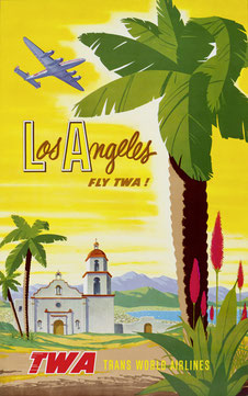 Original vintage TWA Los Angeles poster by Bob Smith