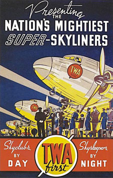 Original vintage TWA Super Skyliners advertising