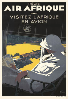 Original vintage Air Afrique poster by Robert Roquin