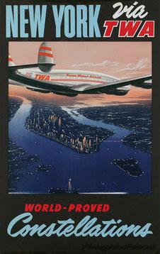 Original vintage TWA poster by Frank Soltesz