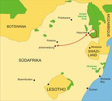 Karte Südafrika Kleingruppenreise 3 Tage