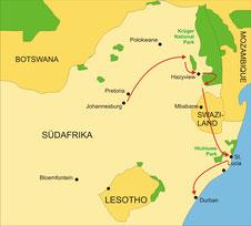 Karte Südafrika Kleingruppenreise 5 Tage