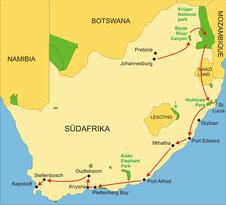 Karte Südafrika Kleingruppenreise 16 Tage