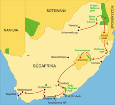 Karte Südafrika Kleingruppenreise 20 Tage