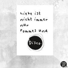 Postkarte Liebe ist nicht immer nur Pommes und Disco
