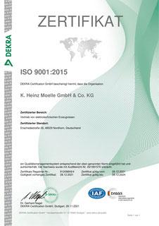 Zertifikat ISO 9001 (deutsch)