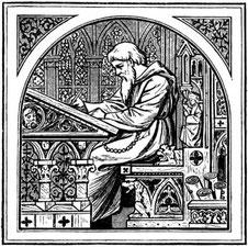 Mönch am Schreibtisch im Mittelalter