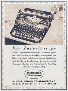 Die Zuverlässige - the reliable Mercedes typewriter