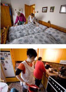 Die Frau von der spitex hilft beim Betten machen und beim Kochen