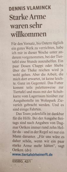 Dennis Vlaminck in der Tiertafel RheinErft e.V.