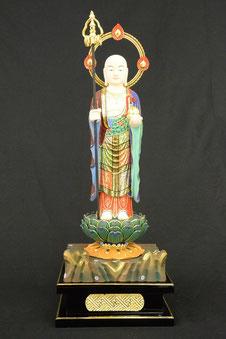 地蔵菩薩 極彩色 岩座輪光背割寸1尺