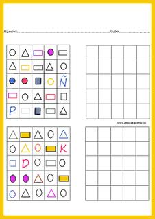 figuras variadas y letras para copiar