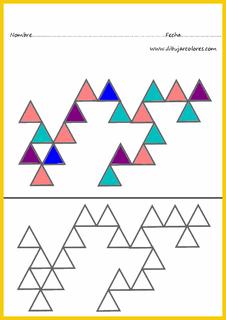 triángulos observar y colorear igual