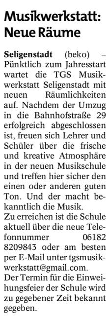 Musikwerkstatt: Neue Räume